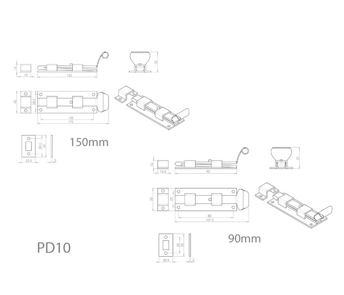 Diagram Image for PD10 Fishtail Door Bolt