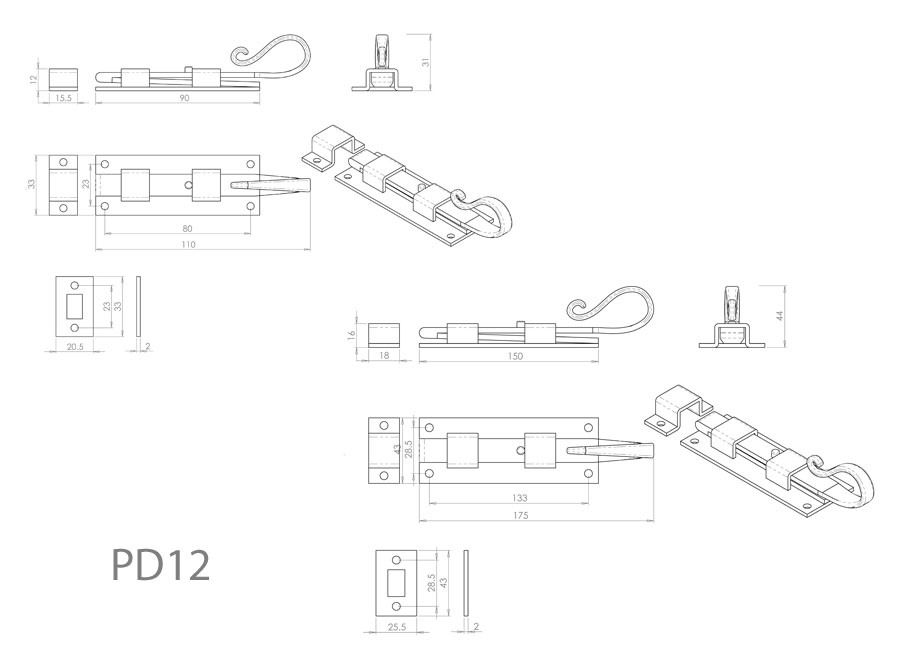 Diagram Image for PD12 Shepherds Crook Door Bolt
