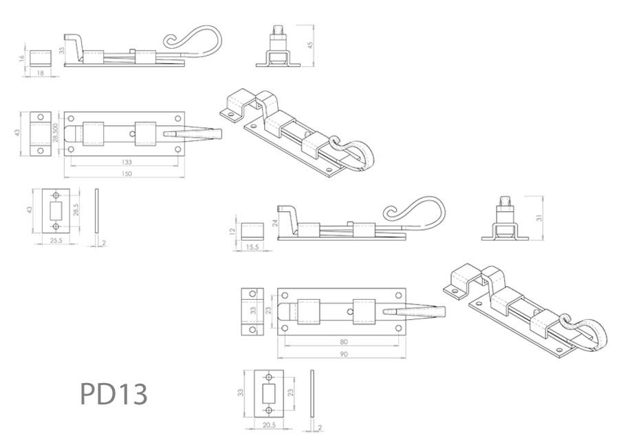 Diagram Image for PD13 Shepherds Crook Door Bolt