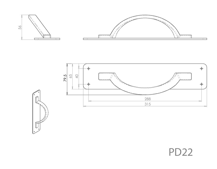 Diagram Image for PD22 Pull Handle on Backplate
