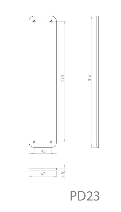 Diagram Image for PD23 Push Plate