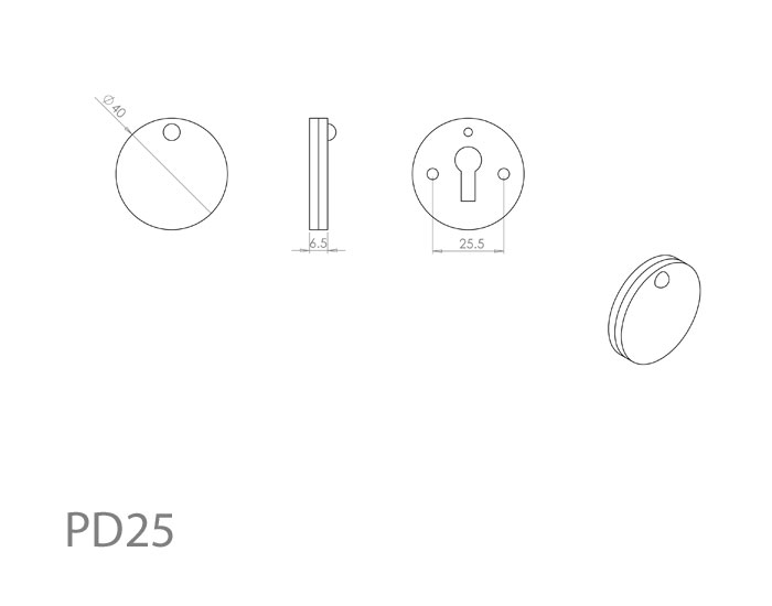 Diagram Image for PD25 Escutcheon with Cover
