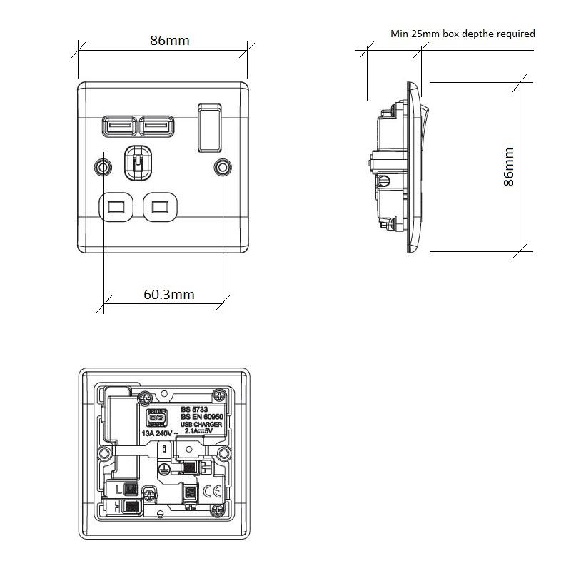 Diagram Image for PS05 Screw Plate 1 Gang USB Plug Socket