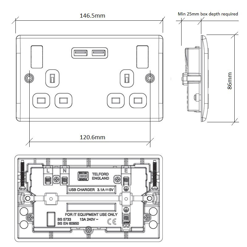 Diagram Image for PS06 Screw Plate 2 Gang USB Plug Switch
