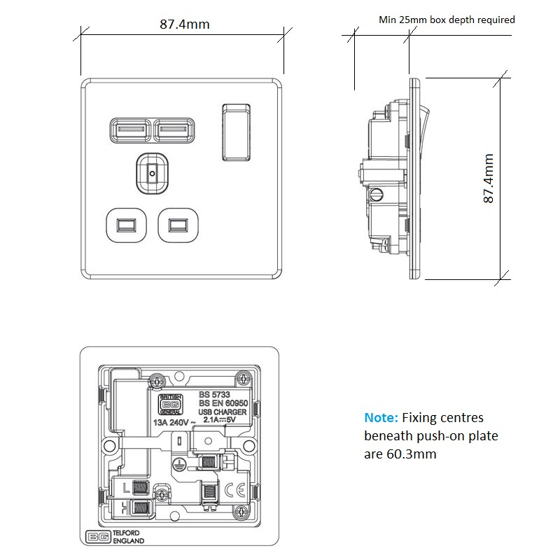 Diagram Image for PS07 Screwless Plate 1 Gang USB Plug Socket