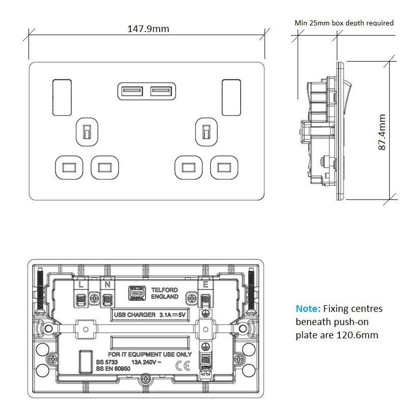 Diagram Image for PS08 Screwless Plate 2 Gang USB Plug Socket