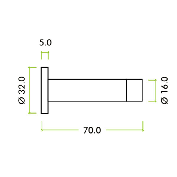 Diagram Image for R50 Cylinder Wall Door Stop
