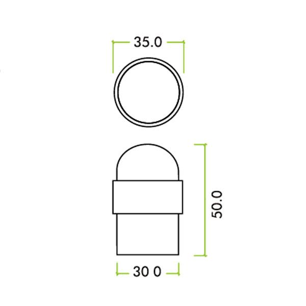 Diagram Image for R54 Stainless Steel Door Stop