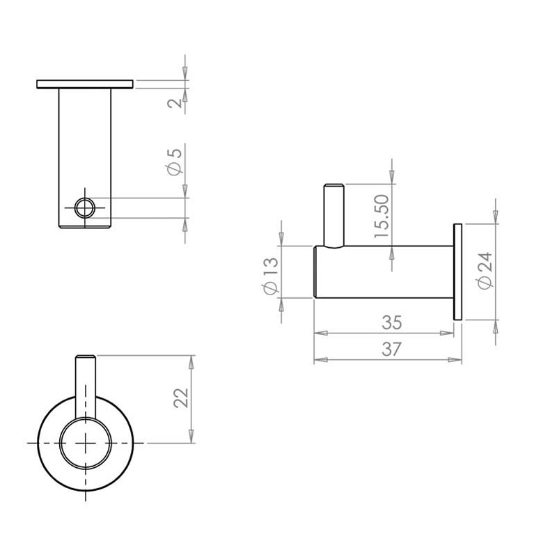 Diagram Image for DA04 - Coat Hook