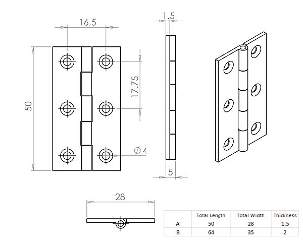 Diagram Image for CH205 Cabinet Hinge