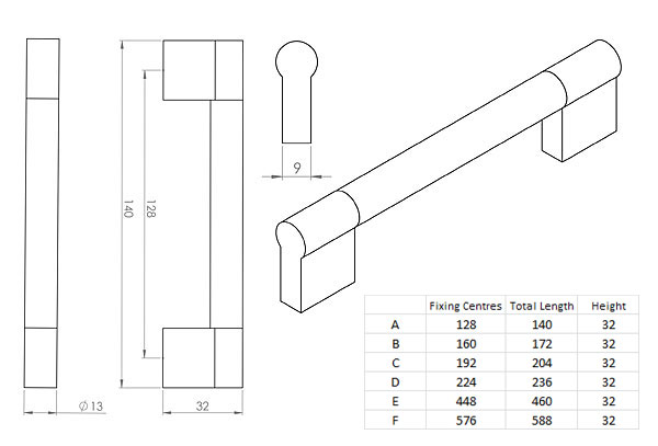 Diagram Image for CH52 Keyhole Bar Handle