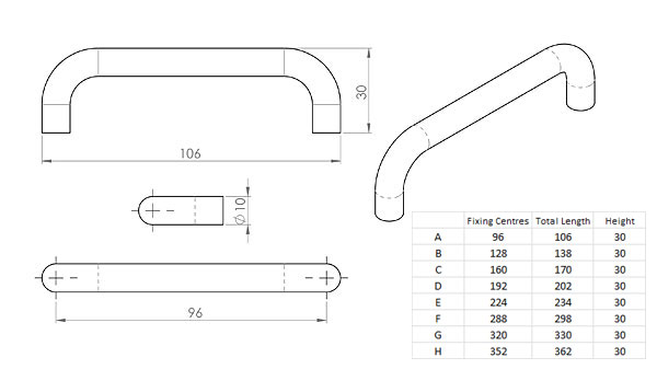 Diagram Image for CH54 Bar Handle