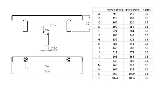 Diagram Image for CH58 Bar Handle