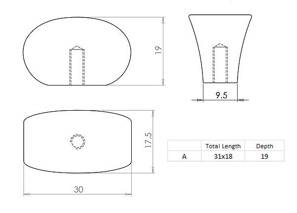 Diagram Image for CH70 Pinch Cupboard Knob