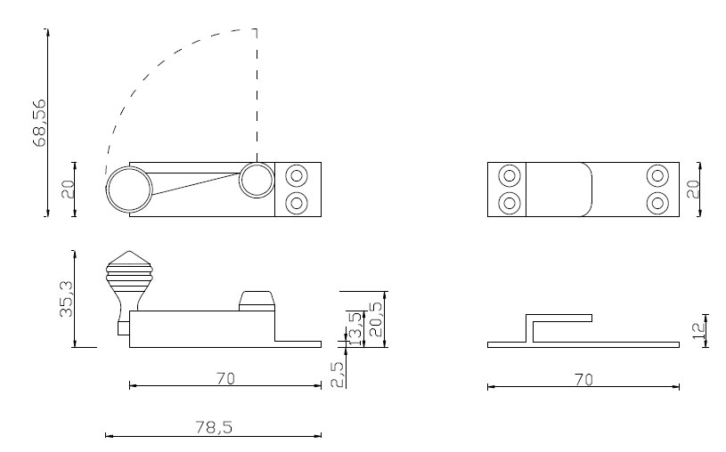 Diagram Image for SW15 Quadrant Sash Fastener