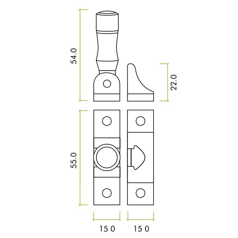 Diagram Image for SW16 Locking Brighton Fastener