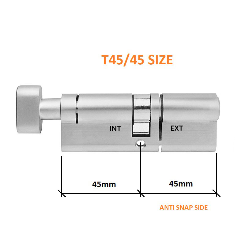 Diagram Image for DL38 - 3 Star Anti Snap Lock Thumbturn Cylinder T45/45