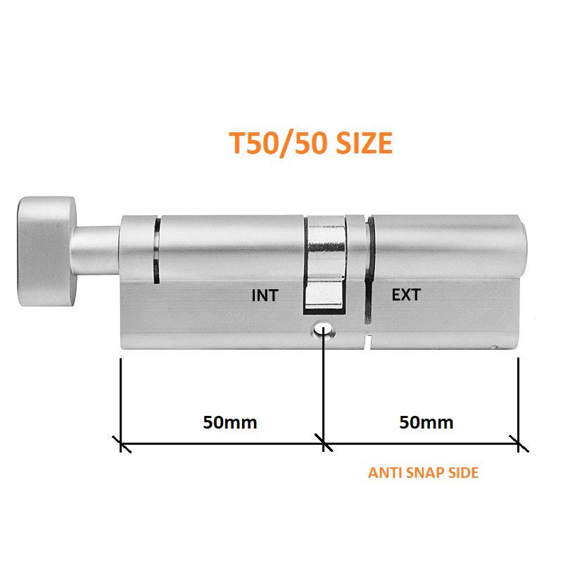 Diagram Image for DL38 - 3 Star Anti Snap Thumbturn Euro Cylinder T50/50