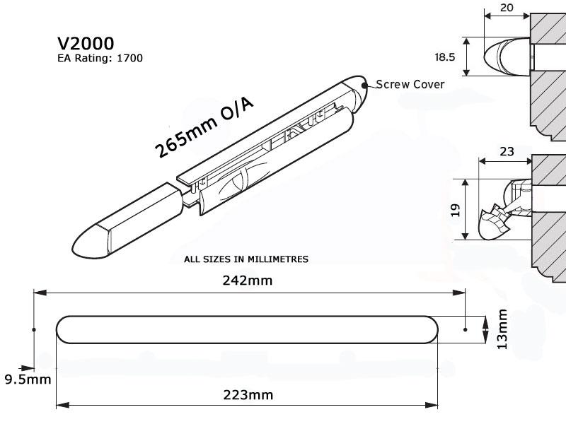 Diagram Image for V2000 Internal Trickle Vent
