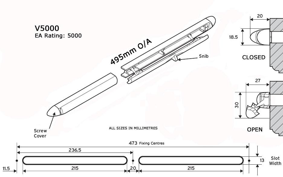 Diagram Image for V5000 Internal Trickle Vent