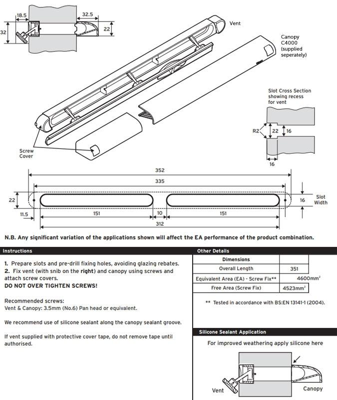 Diagram Image for VXR4000 Recessed Flush Trickle Vent