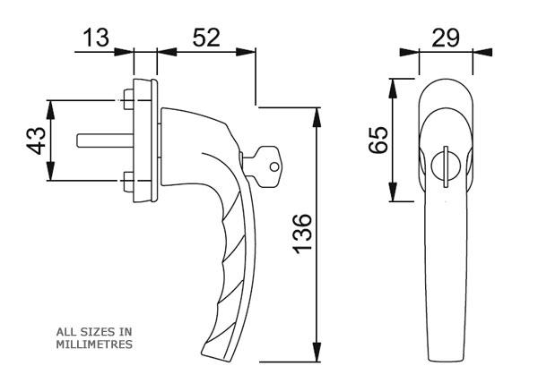 Diagram Image for W22 Tokyo Tilt Turn Window Handle
