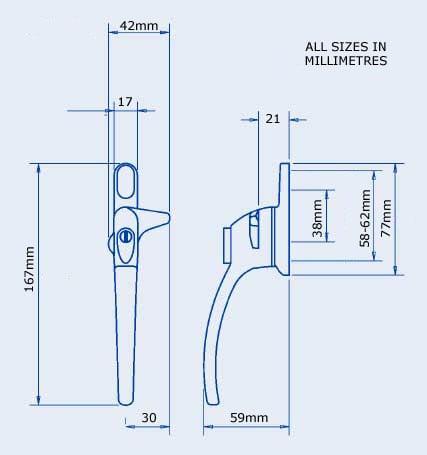 Diagram Image for W33 Locking Cockspur Window Handles