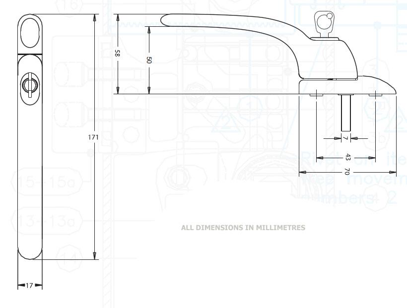 Diagram Image for W85 Locking uPVC Window Handle