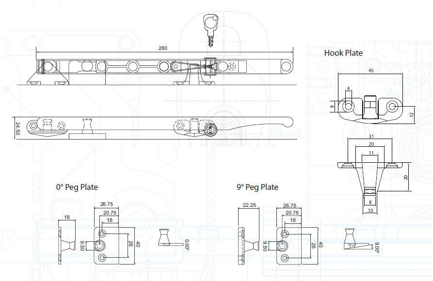 Diagram Image for W88 Timber Window Stay