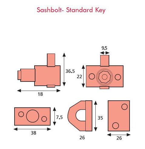 Diagram Image for WL03 Sash Window Bolt