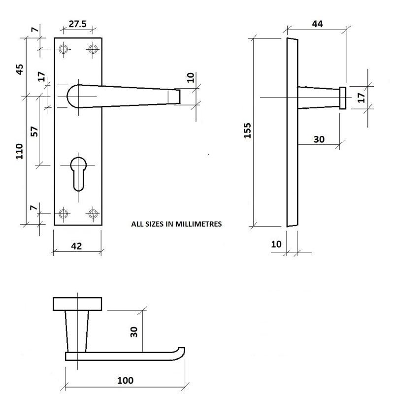 Diagram Image for Z01 Straight Lever Lock Door Handles