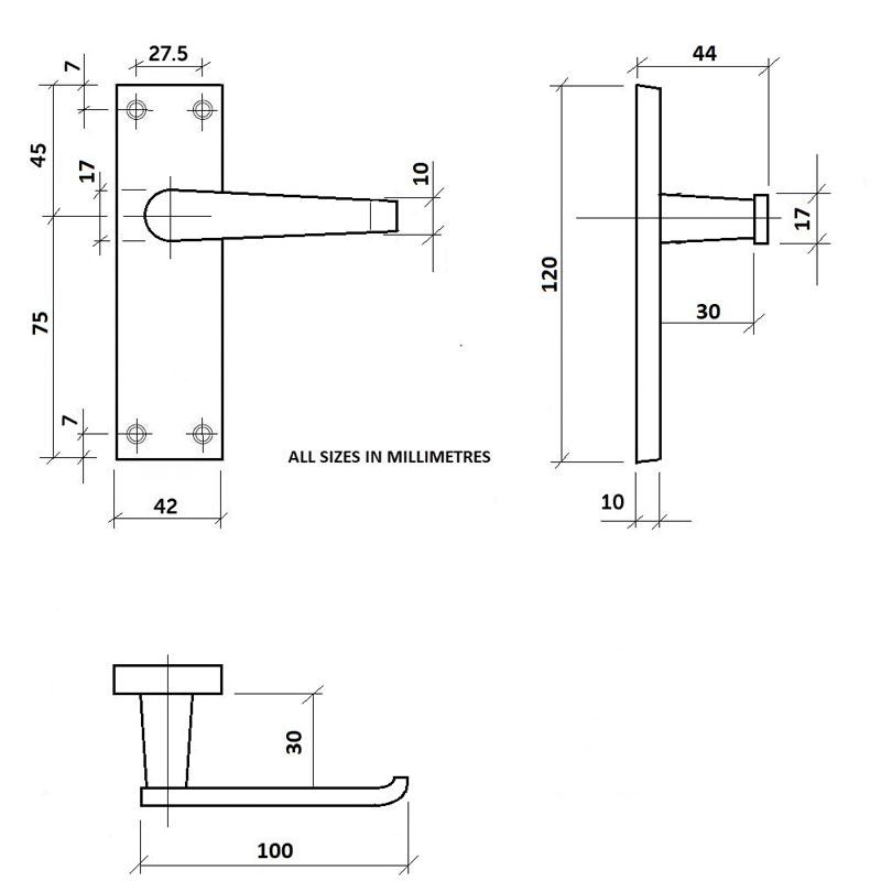 Diagram Image for Z02 Lever Latch Door Handles