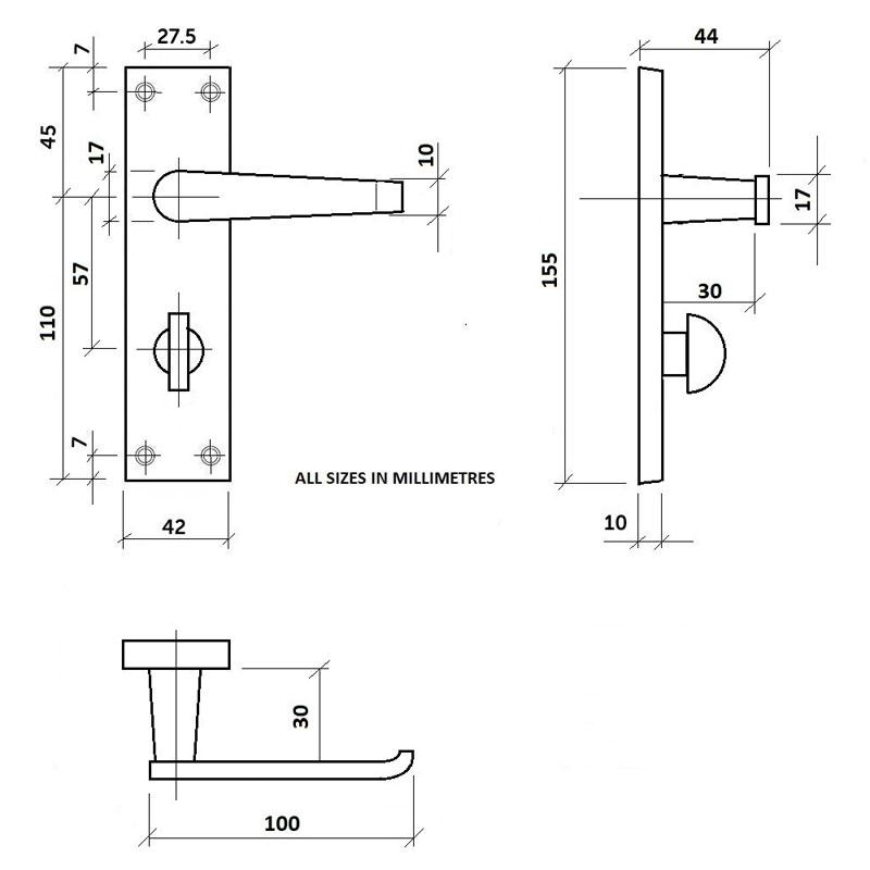Diagram Image for Z04 Bathroom Door Handles