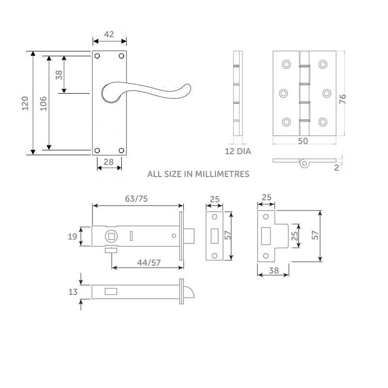 Diagram Image for Z06 Victorian Scroll Door Handle Pack