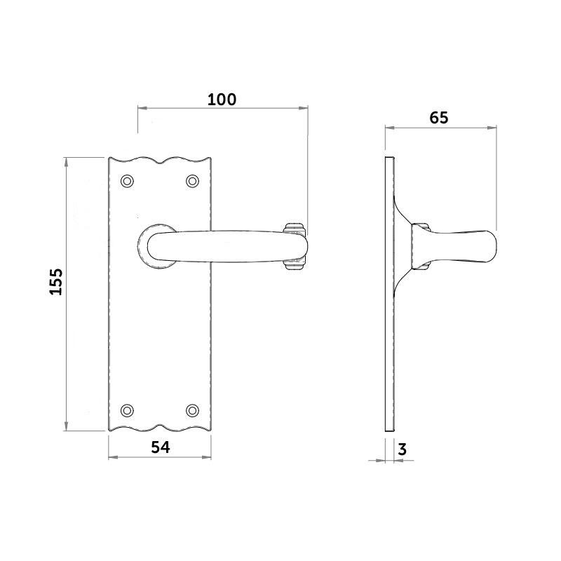 Diagram Image for Z136 Black Antique Latch Door Handle