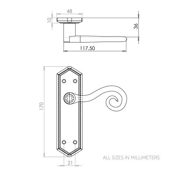 Diagram Image for Z140 Monkey Tail Latch Door Handle