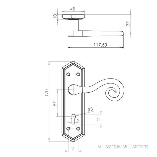 Diagram Image for Z141 Locking Monkey Tail Door Handles
