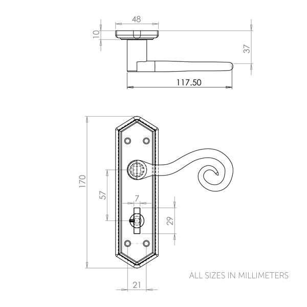 Diagram Image for Z142 Monkey Tail Bathroom Door Handle