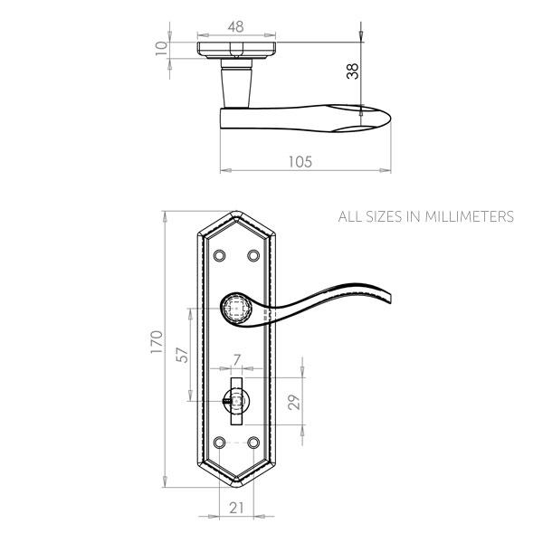 Diagram Image for Z145 Black Antique Bathroom Lock Door Handle