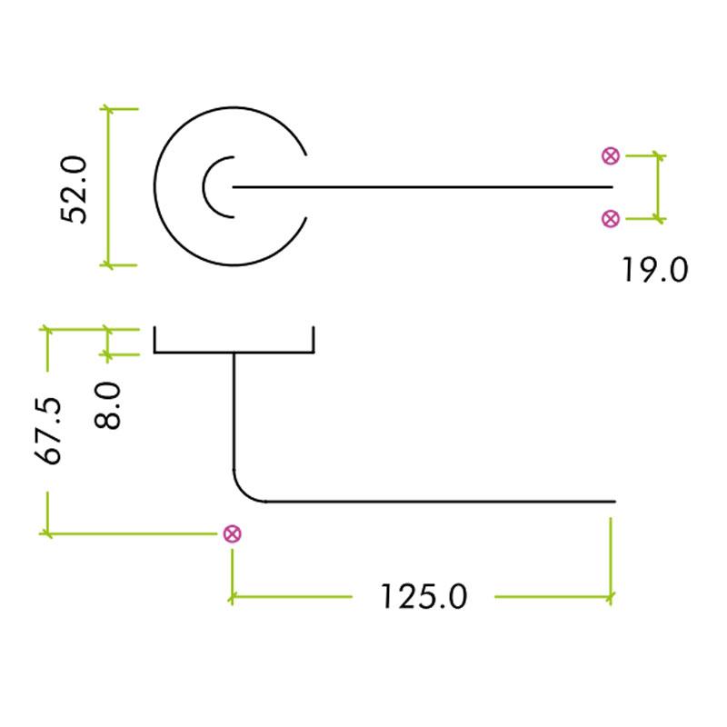 Diagram Image for Z301 Radius Lever Rose Stainless Steel Door Handle