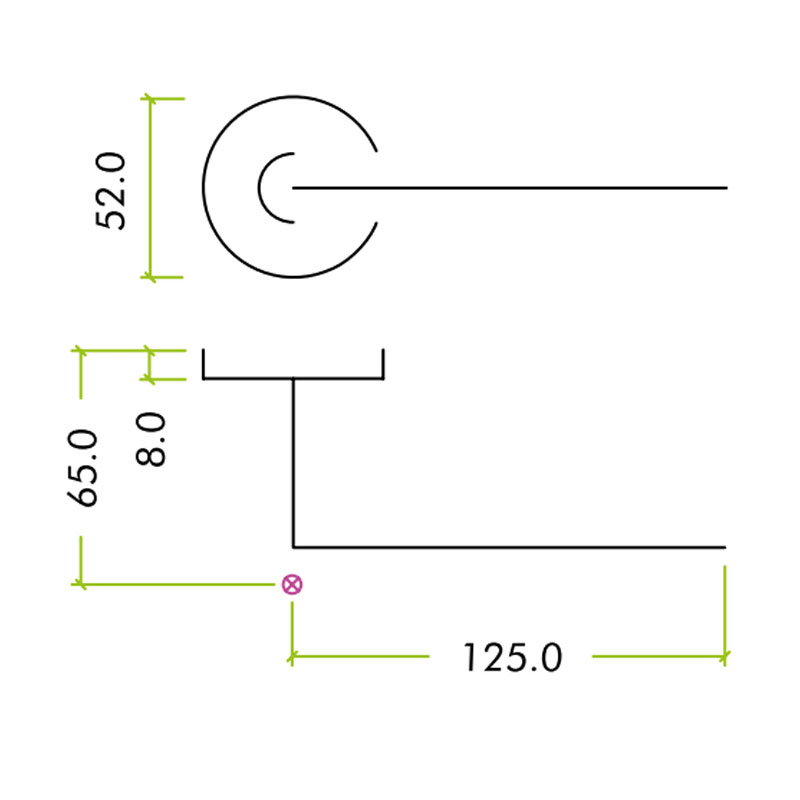 Diagram Image for Z305 Curved Lever Rose Stainless Steel Door Handle