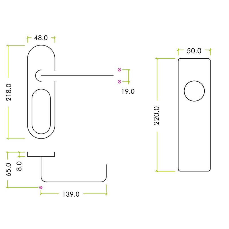 Diagram Image for Z310 RTD Square Lever Latch Stainless Steel Door Handle