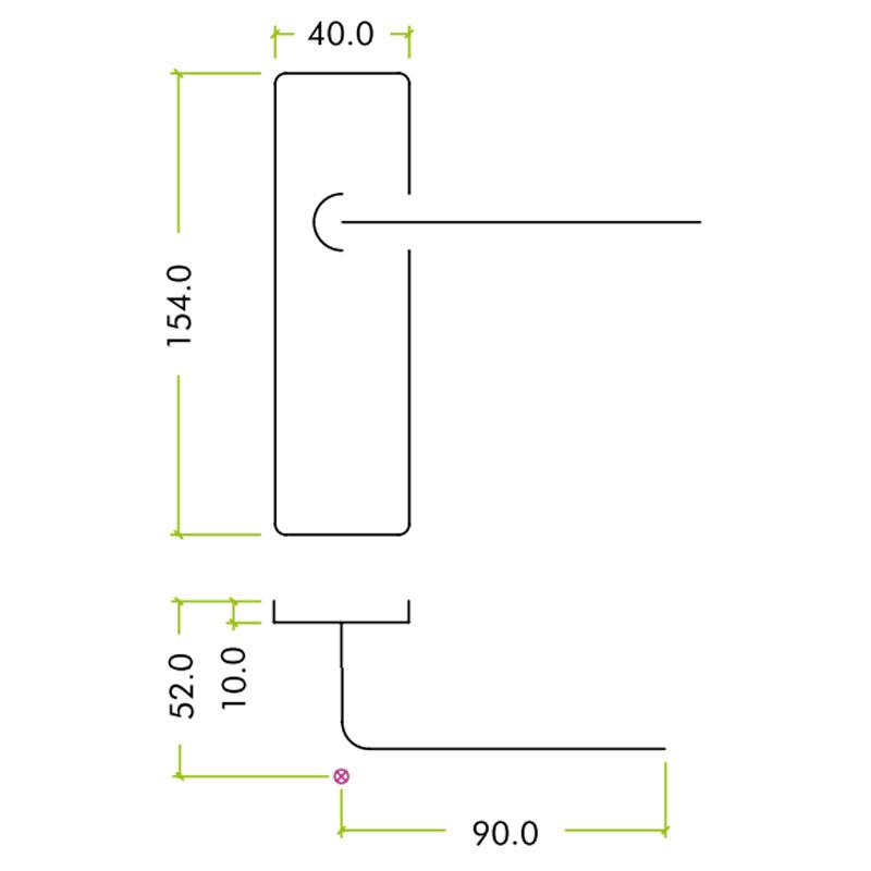 Diagram Image for Z401 Lever Lock Aluminium Door Handle