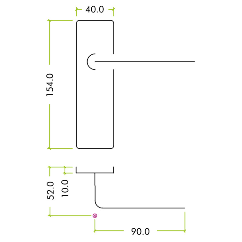 Diagram Image for Z402 Lever Euro Aluminium Door Handle