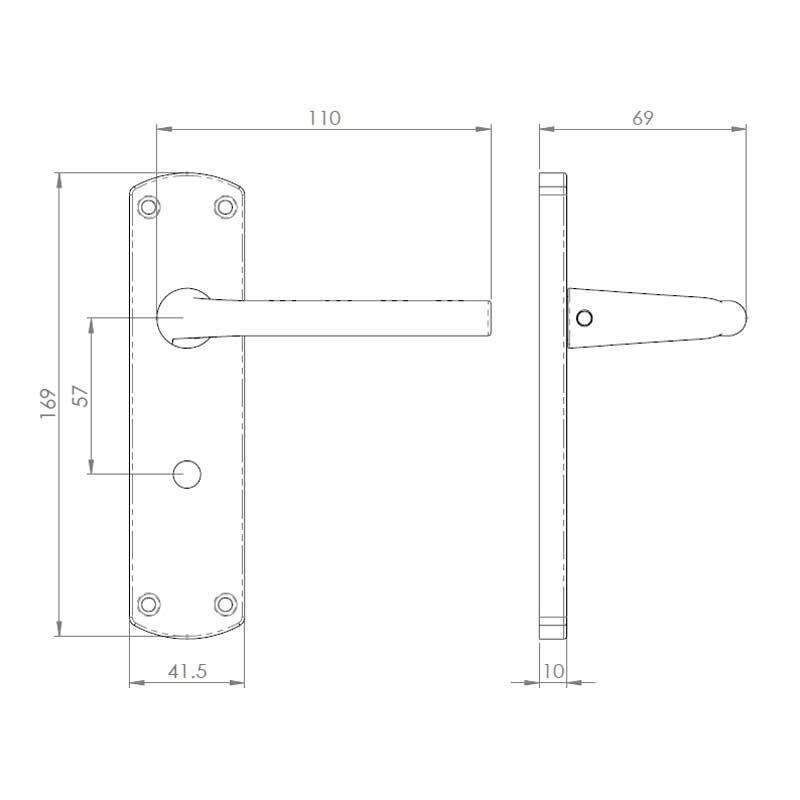 Diagram Image for Z47 Lever Latch Door Handles