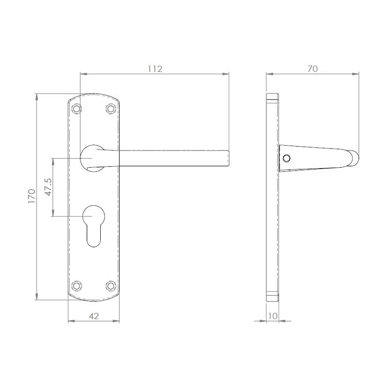 Diagram Image for Z49 Lever Euro Door Handles