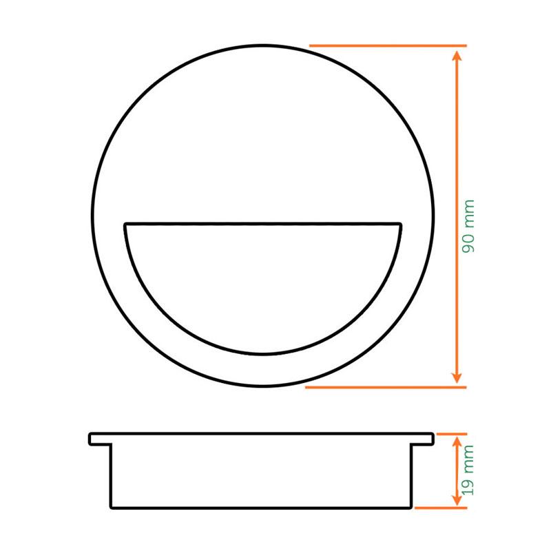 Diagram Image for Z504 Half Moon Flush Sliding Door Handles