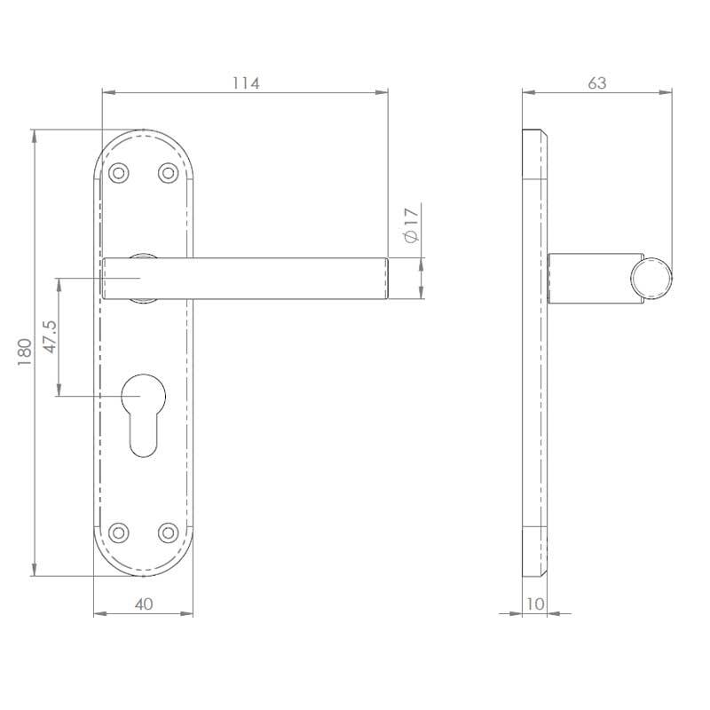 Diagram Image for Z57 Lever Euro Door Handles