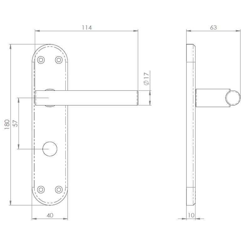 Diagram Image for Z58 Bathroom Door Handles