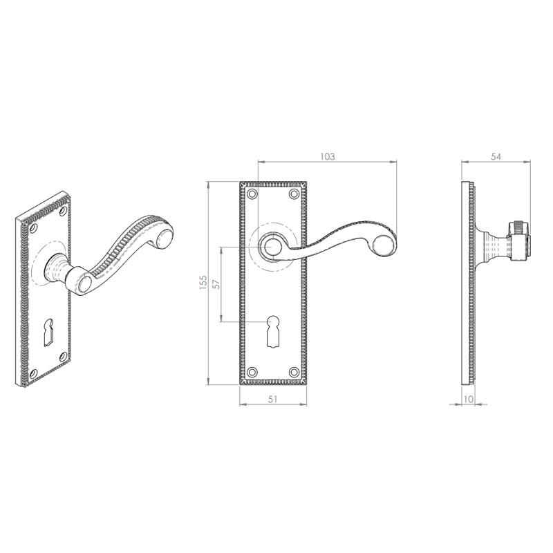 Diagram Image for Z601 Georgian Scroll Lever Lock Solid Brass Door Handle